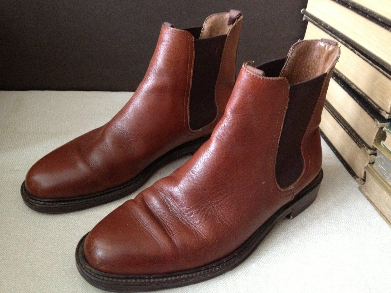 vtg italy cognac brown leather chelsea ankle boots size. Black Bedroom Furniture Sets. Home Design Ideas