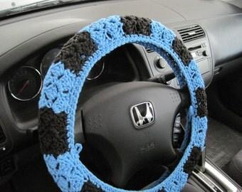 Crochet Steering Wheel Cover, Wheel Cozy - hot blue/dark grey (CSWC 2TTT)