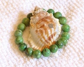 African Jade 12mm natural gemstone, beaded, chunky, stretch, stacking, healing, unisex bracelet   SSB012
