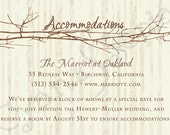 Printable Wedding Invitation Accommodations Card - 3.5x5 - Tree and Branches - Vintage Rustic Woodland Twigs - Brown Tan Sepia