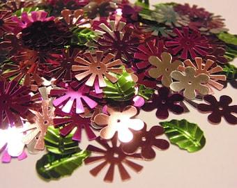 bag of flower and leaf sequins , 14-17 mm (4)