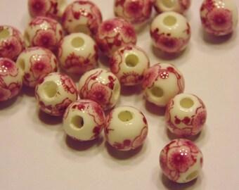 10 rose / pink ceramic beads, 7 mm (K18)