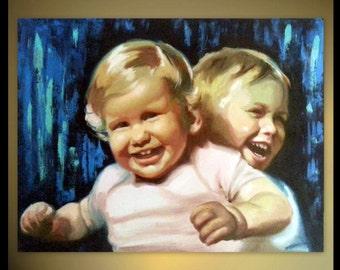 CUSTOM PORTRAIT Twins Portrait Painting Family Portrait Painting - Oil Painting - Unique Gift Custom Child Portrait From Photo on canvas