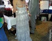 Grey Lace Bohemian Wedding Dress Long Bridal Wedding Gown Bohemian Grey Wedding Dress Backless Wedding Dress - Handmade by SuzannaM Designs