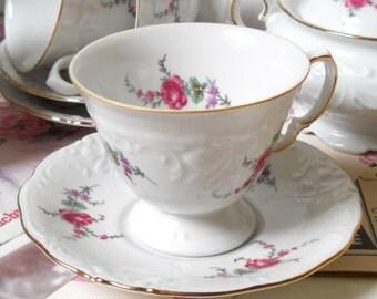 SALE: vintage teacup and saucer porcelain cups and saucers vintage floral teacup Wawel 96