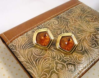 Avon Grand Impressions Collection Amber Colored pierced earrings  - Vintage 1993