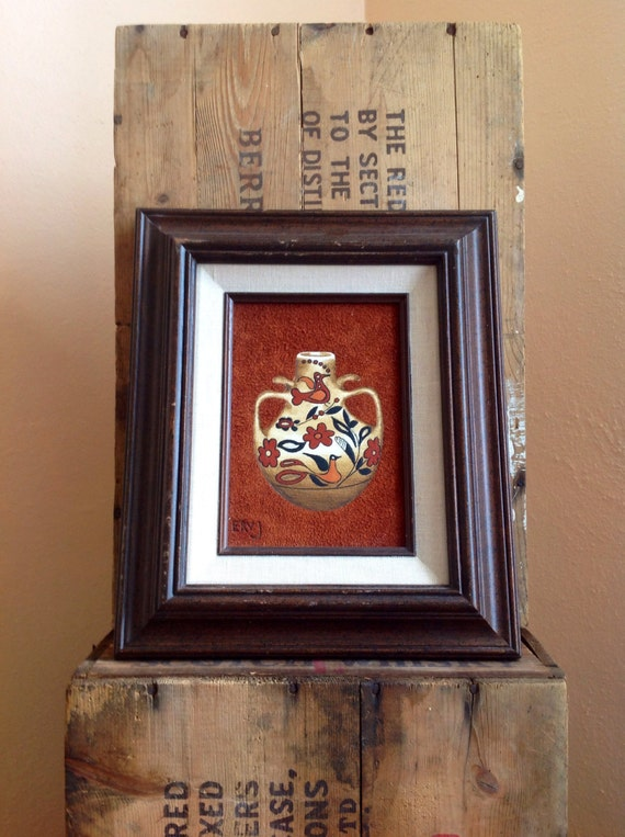Items similar to Vintage Suede Painting, Southwestern Home ...