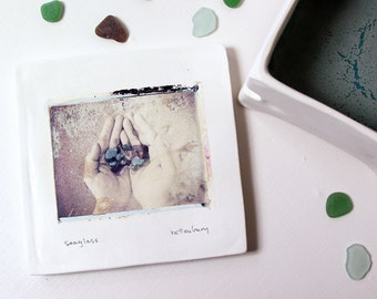 Sea Glass.  Polaroid Image Transfer Printed on Hand-Built Lidded Ceramic Box.  Beach Glass.