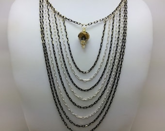 Black and White Chain and Crystal Statement Necklace - Diamond Cut Chain, Swarovksi, Gold, Bib Necklace, Colored Chain