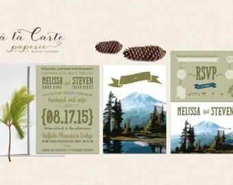 Rustic Mountain Wedding Invitation RSVP set Destination wedding invitation mountain rustic wedding Colorado Montana Oregon Virginia Rockies