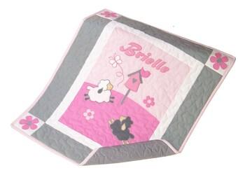 Sheep Crib Quilt, Sweet Lambie Nursery Bedding, Appliqued  Baby Blanket, Child Decor