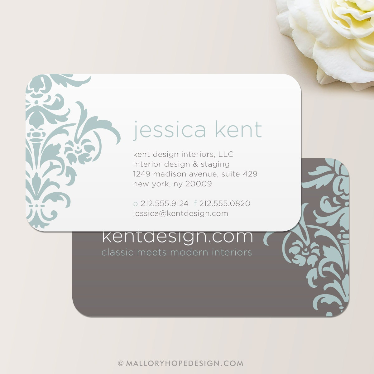 Bold damask business card calling card mommy card for Interior planner