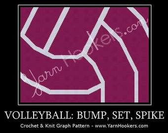 Volleyball- Bump, Set, Spike - Afghan Crochet Graph Pattern Chart - Instant Download