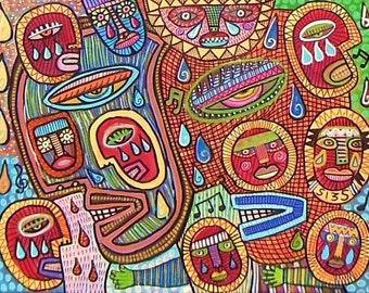 Sunshine Rain Shamans )( 11x14 in. SILBERZWEIG ORIGINAL PAINTING- Native Talk Heal Circle, Drum, Dance,  Masks, Medicine, Songs, Spiritual