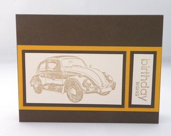Masculine Vintage Car Birthday Card in Brown and Gold