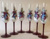 Christmas Hand Painted Champagne Glasses set of 6