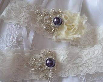 Wedding Garter,Bridal Garter, Garter Set - Rhinestones in ivory Lace, Purple Garter