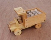 Handmade Wooden Pickup Truck with Barrel Load