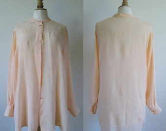 1990 's Silk shirt long sleeves, powder color