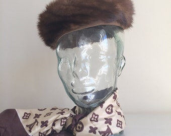 SALE Vintage ladies brown mink fur hat / ladies vintage hat / brown womens hat / brown vintage hat / formal hat / gift for her / hat for her