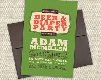 Retro Beer & Diaper Party Invitation // Green, Brown, Rustic Orange