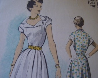 SALE Vintage 1950's Advance 5469 Design by Edith Head for Barbara Stanwyck Dress Sewing Pattern, Size 12, Bust 30