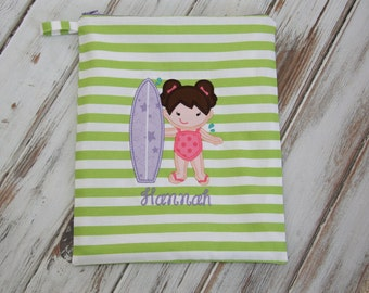 Surfer Gal on Personalized Wet Bag with Zipper Closure