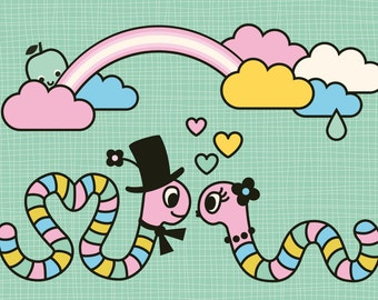 Worms in love Postcard