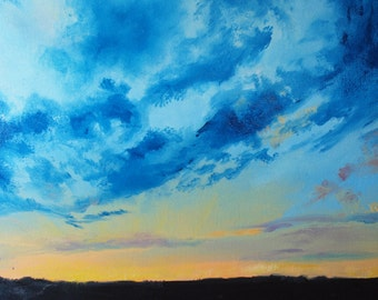 "Archival Print of Original Oil ""Skyscape in Blue at Dusk"""