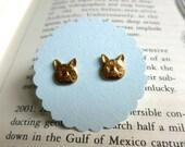 Brass Kitty Cat Earrings Nickel Free