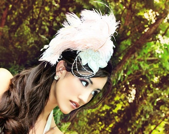 Baby Pink & Crystal Ostrich Gatsby Inspired Feather Fascinator