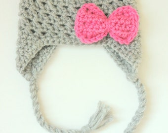 Baby Girl Crochet Earflap Hat- Gray with Pink Bow, Toddler Crochet Hat