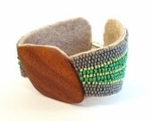 Luna Cuff - green & gray - bead-embroidered cuff bracelet