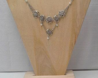 Silver Pearl Circular Tiered Necklace
