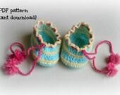 Crochet baby booties pattern, crochet baby shoes, baby shoes pattern, baby booties with pompom, pattern no. 96