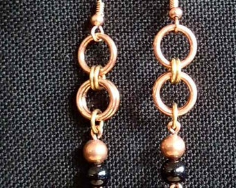 Fun and flirty copper chainmaille earrings