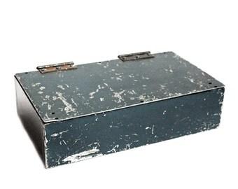 Vintage Industrial Blue Metal Box with Hinged Lid