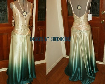 1930s Insp ALL CUSTOM Made Ombre 'Keira' Plunge Back Godet Bridal Wedding Gala Evening Silk Gown Dress