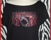Red and black Rhinestone Football Mom rhinestone football shirt off shoulder football dolman slouchy shirt football girlfriend football wife