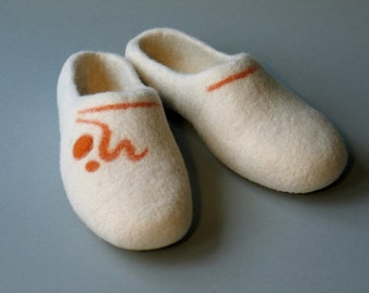 Handmade felted slippers White women shoe Mother gift Sister gift Girlfriend present Wife prezent