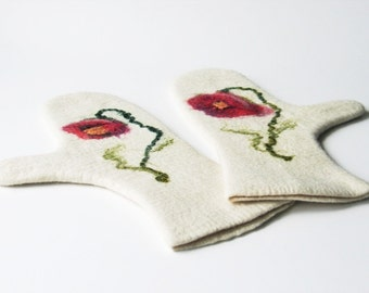 Felted gloves with poppies White felted warm mittens Women wool warm accessories Arm warmers
