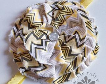 CHEVRON Headband - fits Girls to Adult Headband - yellow & grey chevron headband