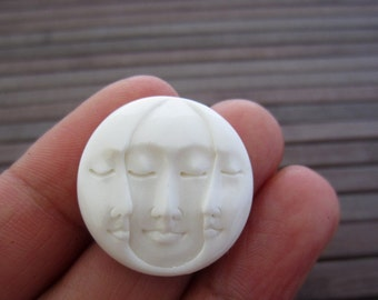 SALE 25mm Gorgeous Hand Carved Three Face Cabochon with closed Eye, Bone Component, Cabochon for Setting B5352