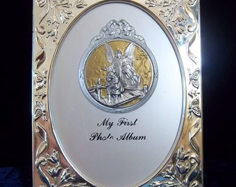 Silver Plated Frame and Photo Album - Guardian Angel - First Photos Themed - Newborn - Baby Shower Gift - Christening - Vintage Religious