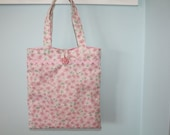Small Pastel Pink And Green Floral Tote Bag