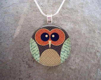 Owl Jewelry - Glass Pendant Necklace - Owl 11  - PRE-ORDER