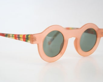 Vintage Eye Glasses Unique Orange Coloerful Round Sunglasses Retro 1980's vintage eyewear NOS Vintage Sunglasses