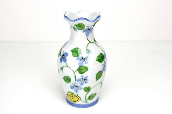 Vintage Floral Vase, Blue Violet Vase, Porcelain Cottage Vase,  Andrea by Sadek, Epsteam