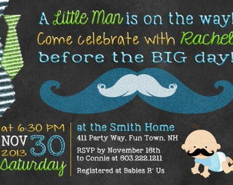 Mustache Baby Shower Invitation Mustache Invitation Tie Little Man Shower Boy Invitation Boy Baby Shower Invitation Little Man Shower Bow