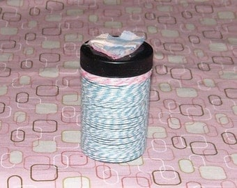 BUTCHERS TWINE Wrapped Plastic BOTTLE for meds, candy, gifts, coins